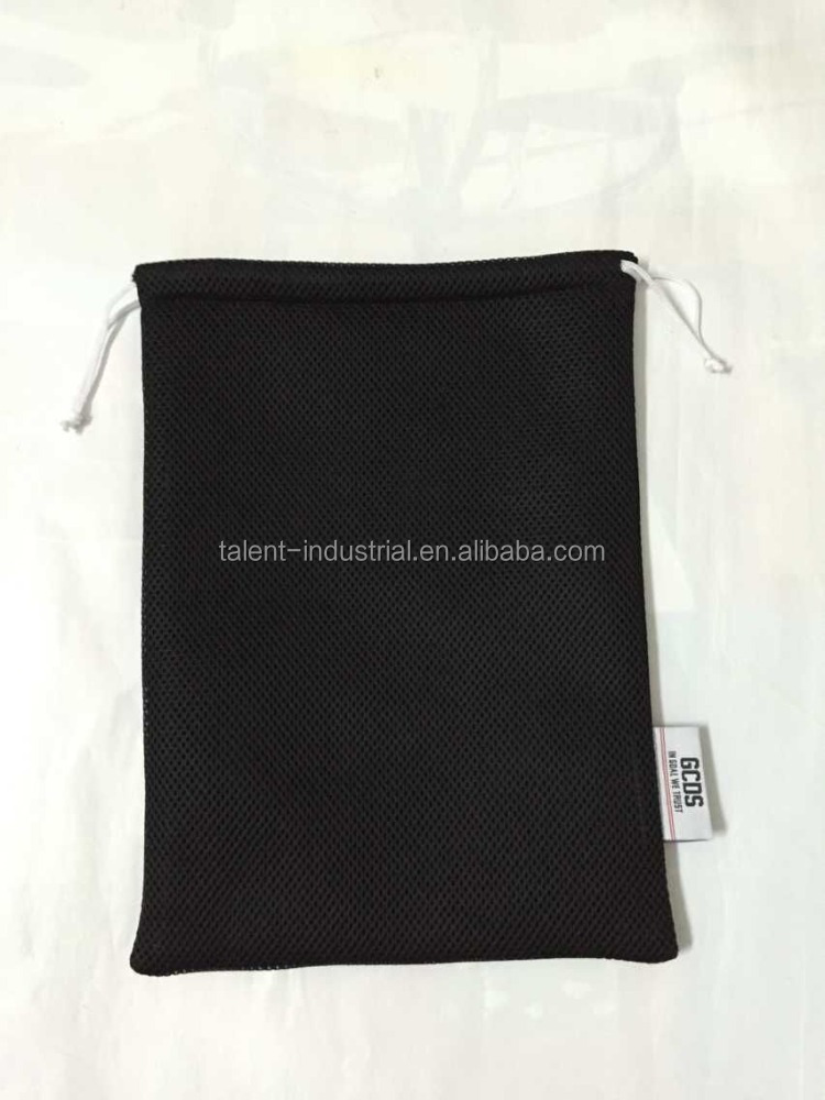 Durable wholesale cheap polyester draw string mesh bag with tag/mesh drawstring laundry bag