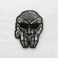 Custom soft enamel brooch pins black nickle metal skull for cool man club logo high quality design emblems OEM/ODM