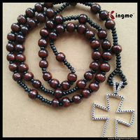 10mm+4mm Coffee Wooden Beads Cord Rosary with Cross Pendant