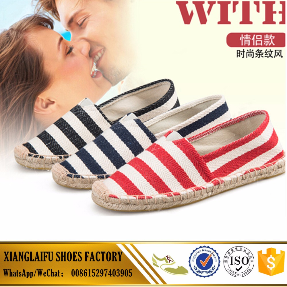 Comfortable Jute sole Women and men espadrilles shoes Made in China