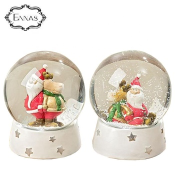 High Quality Custom Christmas Resin Glass Snow Globe with Santa Claus inside