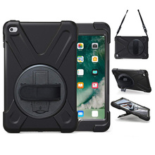 Shockproof Heavy Duty Rotating Kids Tablet Case Cover for iPad Mini 4 with Hand Strap Shoulder Belt