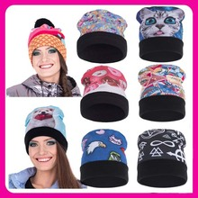 2017 New Design Funny Oversized Slouchy 100 cotton beanie hat 3D Digital Print cc beanie wholesale