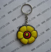 custom 3D flower design rubber key chain, decorative flower rubber keyring/ key tag