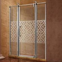 Stainless Steel Folding Hinged Door Shower Screen with Decorative flower pattern