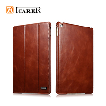 ICARER Genuine Leather Book Style Case For Apple For iPad Mini 4 Tablet Real Leather Folio Cover With Stand Function