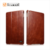 ICARER Genuine Leather Wallet Case For Apple iPad Mini 4 Tablet Real Leather Folio Cover With Wake Up / Sleep Function For Mini4