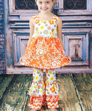 hot sale childrens floral ruffle pant clothing set from china