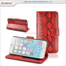 Custom Snakeskin PU Leather Mobile Phone Flip Wallet Case for iphone 8 8 Plus, Wallet Leather Phone Cover Case