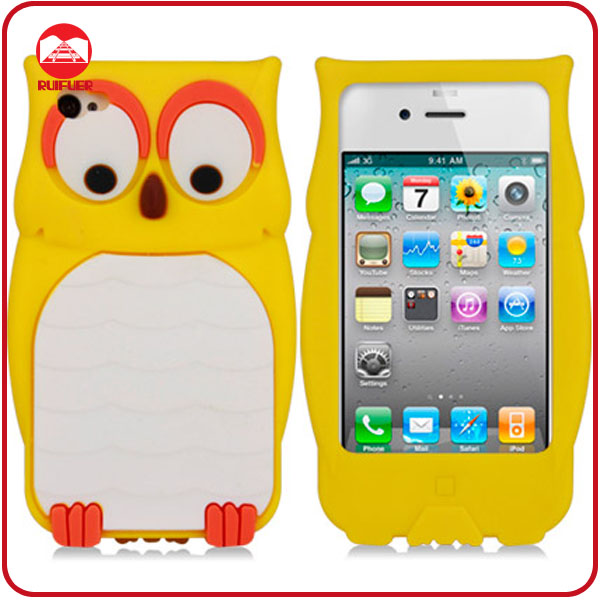 Yellow Soft 3D Owl Animal Shape Mobile Phone Case for iphone4 4s