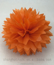 Wholesale orange wedding decoration tissue paper flower pom poms