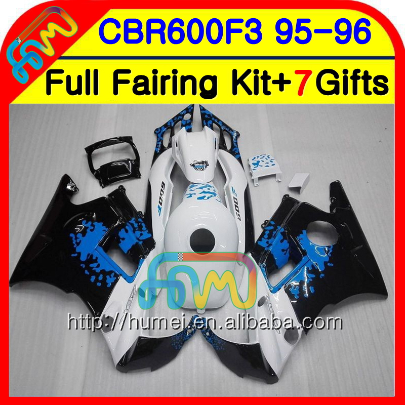 Body For HONDA CBR600 F3 95 96 CBR600RR F3 CBR600FS 13NO.1 CBR 600F3 FS CBR600F3 CBR 600 F3 1995 1996 Fairing kit Graffiti Blue