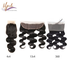 360 degree frontal brazilian body wave human hair with closure