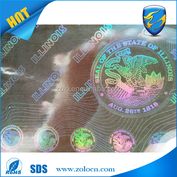 China supplier watermark hologram security certificate sticker / anti-counterfeiting security certificate paper