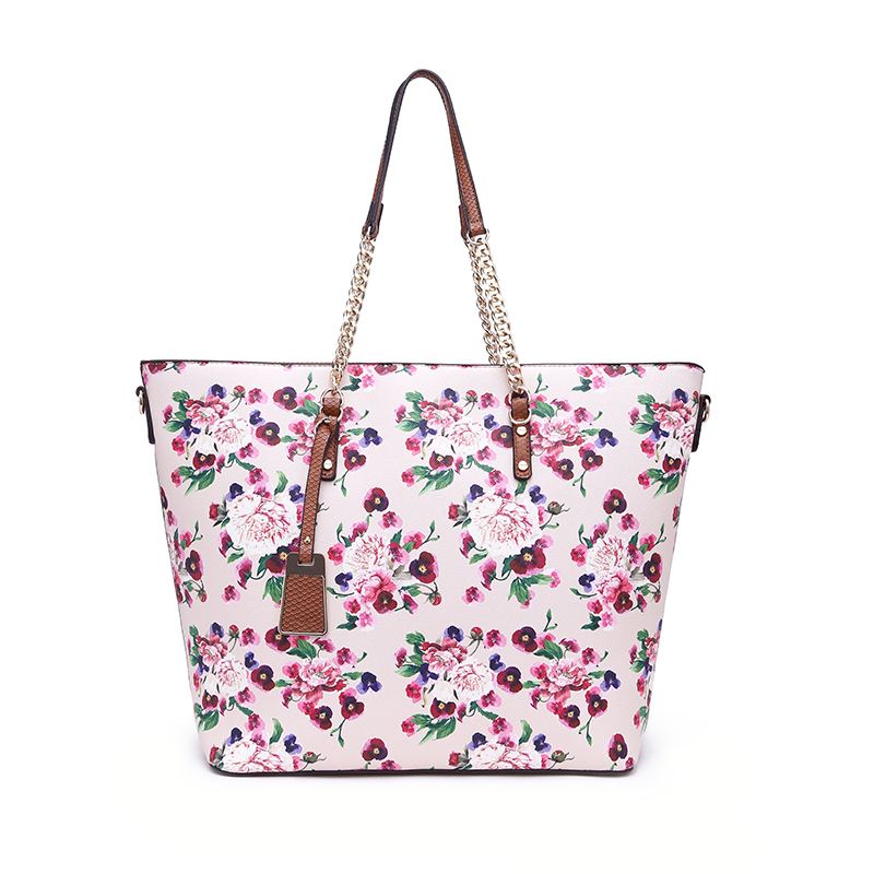 2017 Wholesale Ladies New Arriver Long Metal Chain Handbag , Fashion Women Tote Bag With Beautiful Flower And Pendent