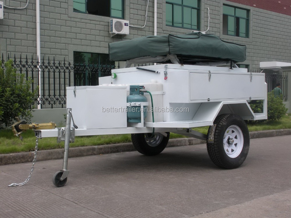 rear kitchen system,LED light,climbing step and ladder,gas bottle holder,American style roof tent trailer