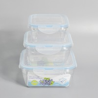 3 pieces easy lock microwave plastic food container