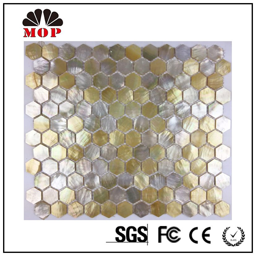 China wholesale - 25mm hexagonal shell mosaic tile for home decoration