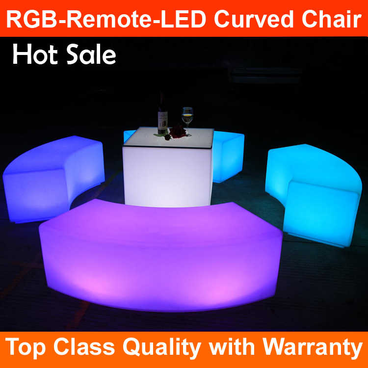 2017 Hot selling new led flash outdoor led RGB Remote Control curved chair color light led christmas bar chair light
