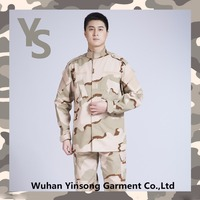 [Wuhan YinSong] High quality camouflage clothing rip-stop camo army jacket 3 color desert bdu military uniform