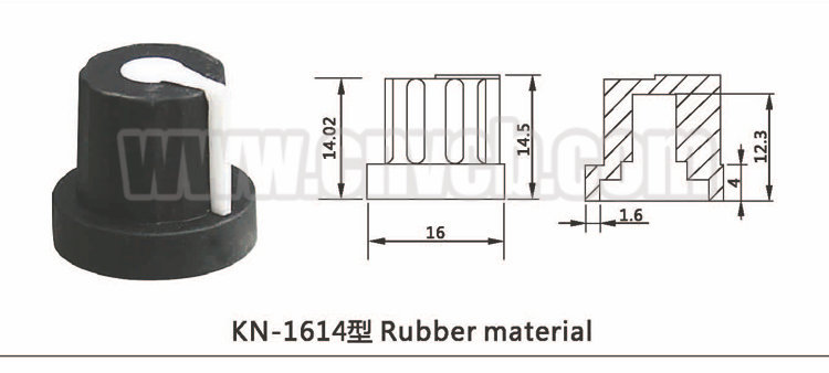 K26 Rubber material potentiometer 6mm black rubber potentiometer knob