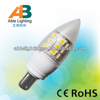 warm white 2700-2700k dimmable 5050 smd 4w plc 24v b15 led candle bulb