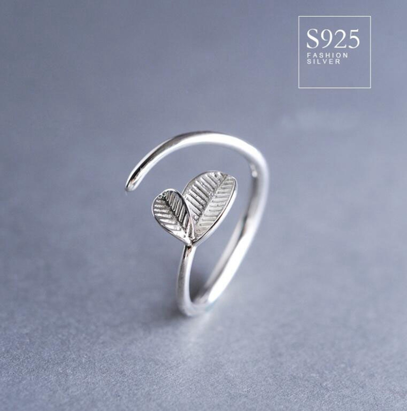 Natural Young Leaves 925 Sterling Silver Rings