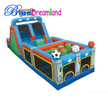 Hot sale inflatable kids football/basketball obstacle course equipment