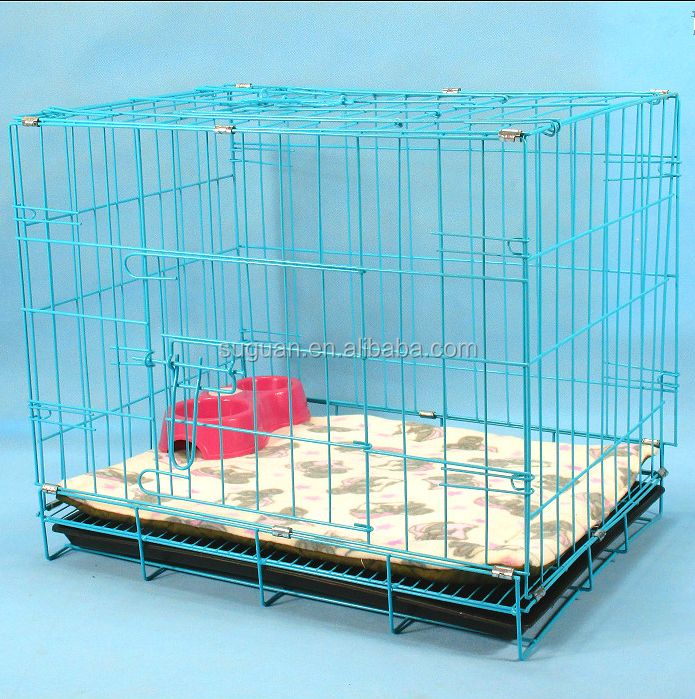 Two door design folding metal dog crate,dog kennel with plastic flooring dog cage for sale cheap