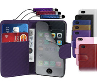 Wallet leather case cover with cardholder and pen in keychain for iPhone 6, iPhone 5 and iPhone 4 and for Samsung S5 and Note 3