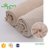wholesale natural colored organic striped custom fabric cotton jersey knit