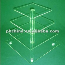MA-662 4 Tier Square Maypole Acrylic Wedding Party Fairy Cupcake Display Stand; Acrylic Cupcake Stand