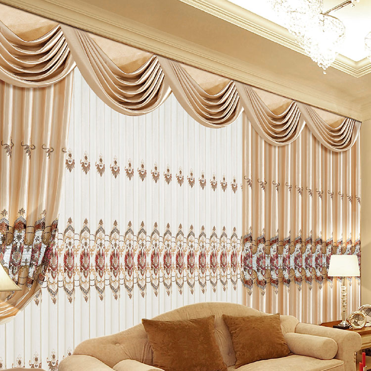 Colored lace curtains sheer jacquard fabric for fashion voile curtains