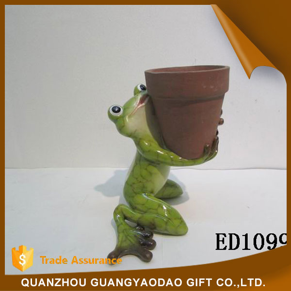 Flower pot home decoration pieces for table decoration frog statue home decoration items