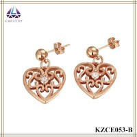 Rose Gold Plating Heart Charm Earring For Women Cheap Fashin Jewelry