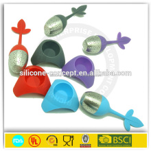 Colorful leaf shape tea infuser silicone