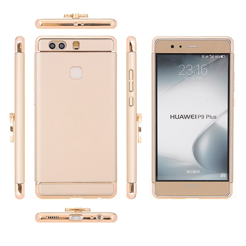Wholesale 3 in 1 Detachable Electroplating Hard PC Phone Back Cover For Huawei P9 P9 Plus Smartphone Case