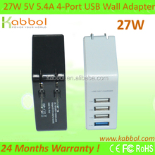 Four USB Port Home/Wall Charger for Apple iPad, iPad2, iPad3, iPhone 3G/3GS, iPhone 4/4S, iPod Touch 4G, Nano 6th. Support all