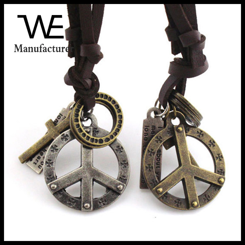 Retro Style Personality Leather Fashion Meaning Pendant Couple Round Peace Symbol Necklace