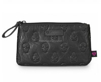 Go Back to School Skull Embossed Faux Leather Cosmetic Makeup Bag Case