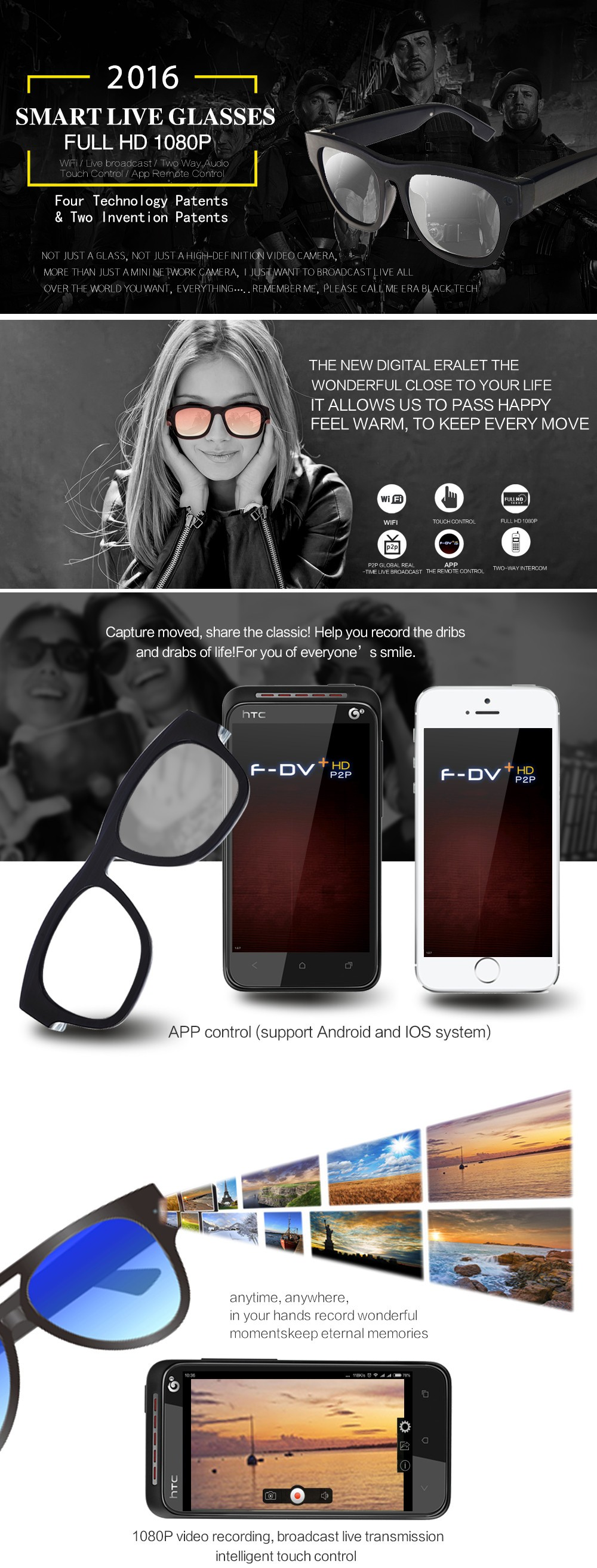 1080p Glasses Cam Mini Glasses Camcorder DVR Hidden Camera and Video Recorder