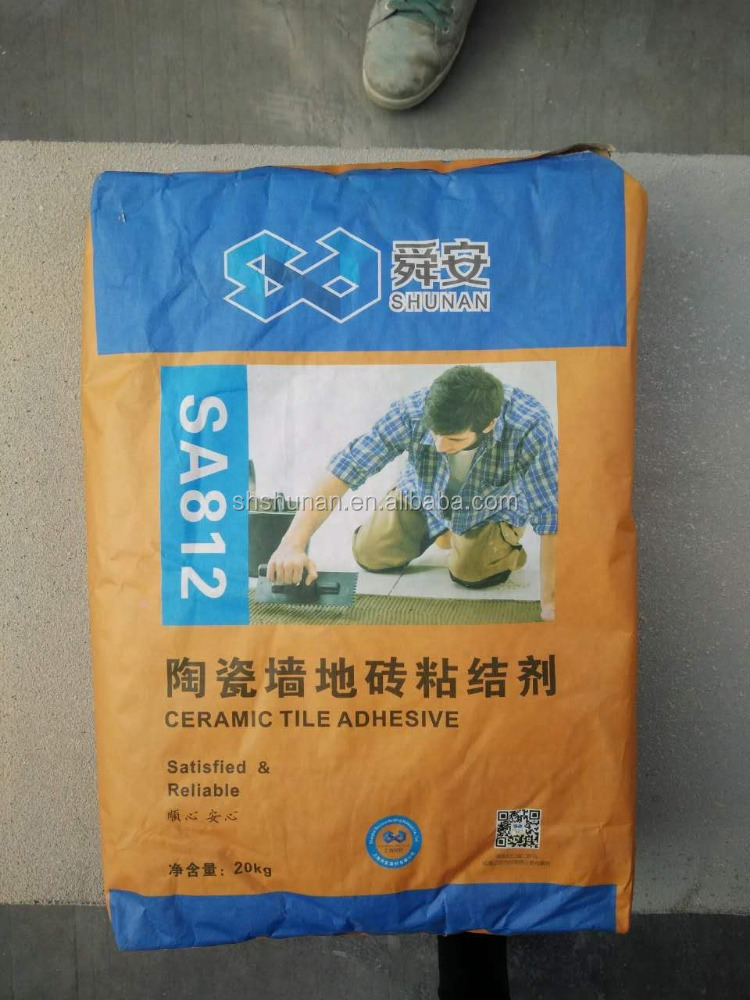 Floor tile of binder ceramic tile adhesive
