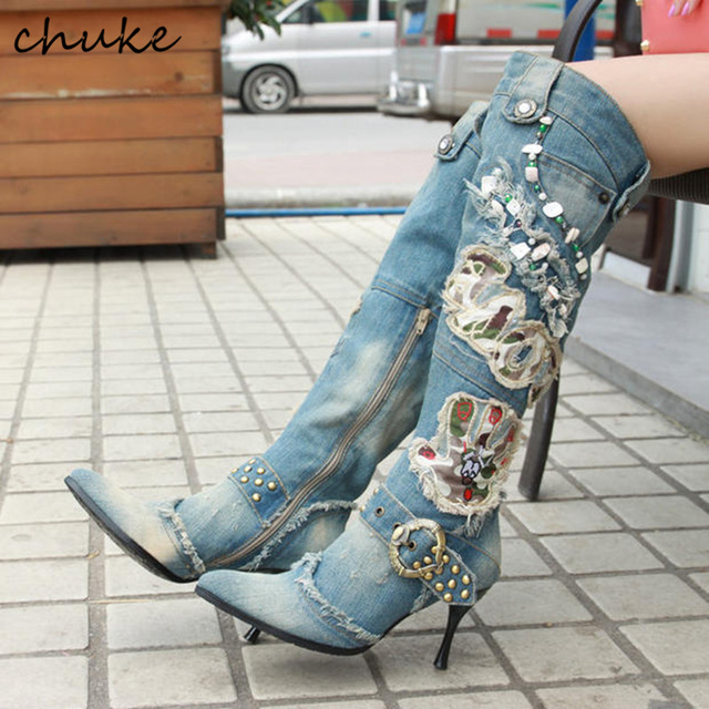 Denim Non-Slip Rivets Fashion Women Boots Appliques Rhinestone Over The Knee Boots Ligh Blue Autumn High Heels Jeans Boots