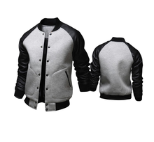New men's jackets & coat Baseball Jacket Men/Boy Veste Homme Casual Pu Leather Sleeve Mens Sweatshirt plus size jackets