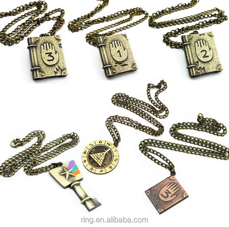 Anime Gravity Falls Rainbow Key Zodiac Journal Pendant Alloy Bronze Necklace