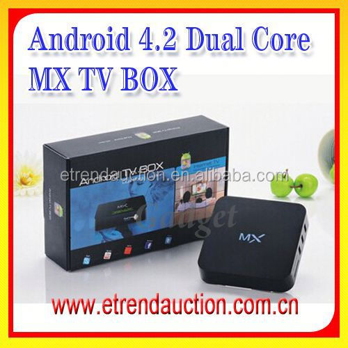 Wholesaler Amlogic TV Box 8726 MX Dual Core CPU 1G RAM 8G Storage preinstalled XBMC/KODI full loaded add-on MX2 1G/8G