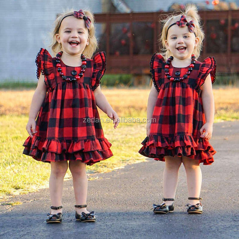 Christmas infant ruffle dress can MIX size red black cotton children baby girls buffalo plaid dress for party