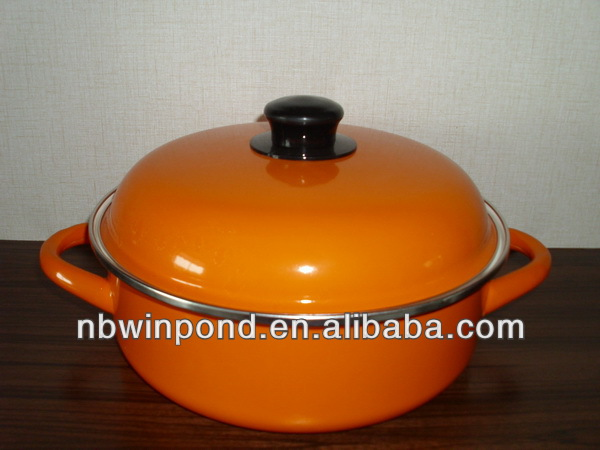 orange color,carbon steel casserole dish enamel with metal lid