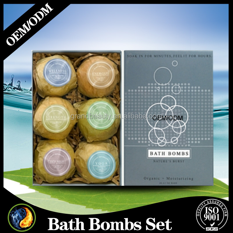 Bath Bombs Gift Set 6 All Natural Pure Essential Oils Scented Bath Bombs