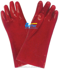 long sleeve cotton lined Red PVC rubber glove oil and gas